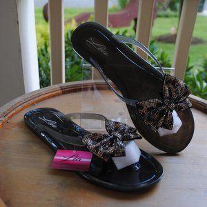 NWT NIB Jelly Sandal BLACK Colorful Adornment BOWS